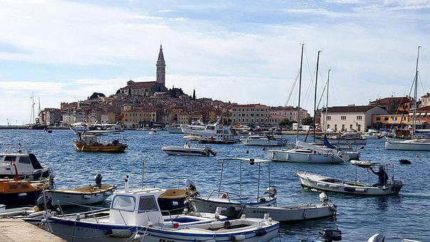 Sea, City, Rovinj, Croatia, Ship, Port, Old Town