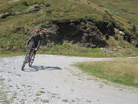 Dolomites, Mountains, Italy, Cyclists, Transalp, Path