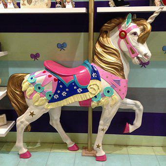 Unicorn, Carousel, Kitsch, Deco, Decoration, Cheesy