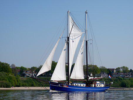 Cutter, Maritime, Sailing Vessel, Elbe, Mood, Summer