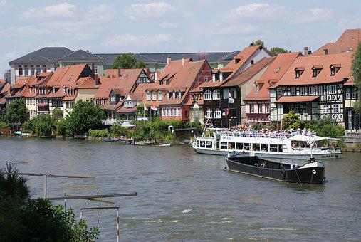 Fachwerkhäuser, Bamberg, On The Main, Ships, River