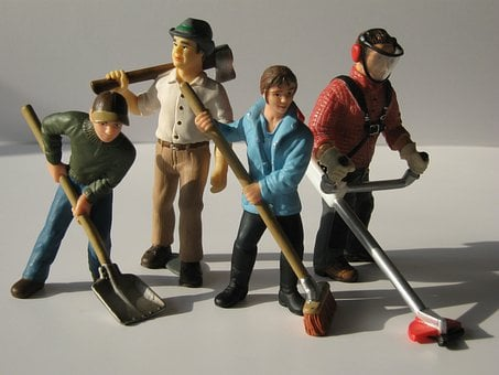 Workers, Figures, Dolls, Toys, Hauling, Scoop, Broom