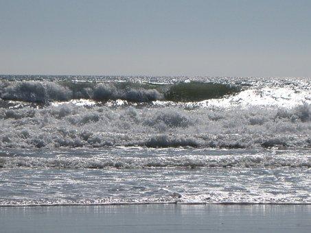 Waves, Beach, Tides, Ocean, Sea, Seascapes, Grey, Gray