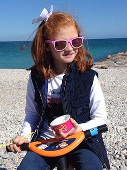 Child, Beach, Beauty, Ice Cream, Happiness, Redhead