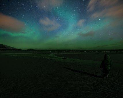 Northern Lights, Aurora, Isle Of Mull, Scotland, Night