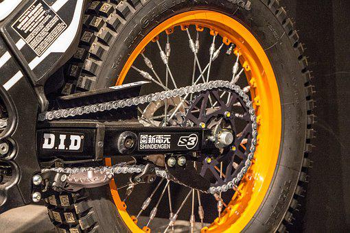 Motorcycle, Gear, Chain, Axel, Teeth, Tire, Knobby