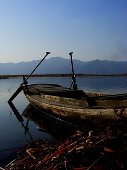 Sunset, Yeyahu, Yaochuan, Old Ship, Wood, Gate, Lake