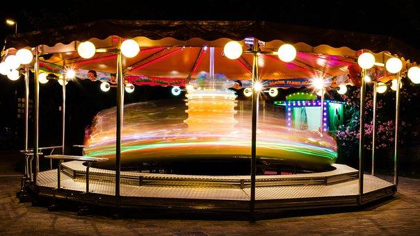 Carousel, Turn, Year Market, Movement, Lights, Pleasure