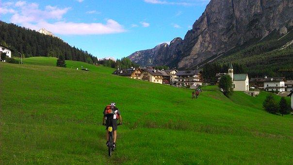 Bike, Drive, Away, Meadow, Mountains, Exit, Green Grass