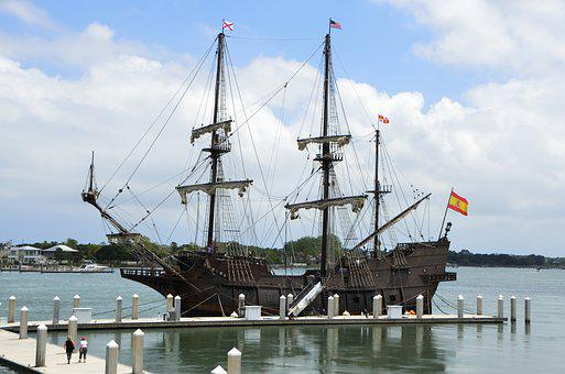 Galleon Ship, Moored, Docked, Galleon, Ship, Boat