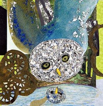 Owl, Paperwork, Art, Mosaic