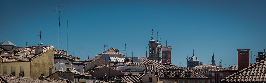 Roofs, Antennas, Sky-line, Sky, Panoramic, Madrid, Old