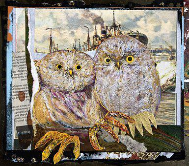 Owl, Paperwork, Art, Kraft, Painting