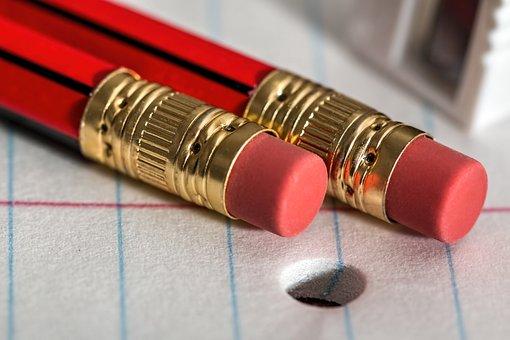 Pencil, Eraser, Notepad, Write, Paper, Office, School