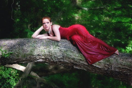 Girl, Laying, Tree, Female, Young, Portrait, Attractive
