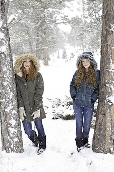 Sisters, Redheads, Winter, Snowing, Snow, Outdoor