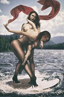 Surfing, Red Sail, Sail, Scarf, Breast, Erotica