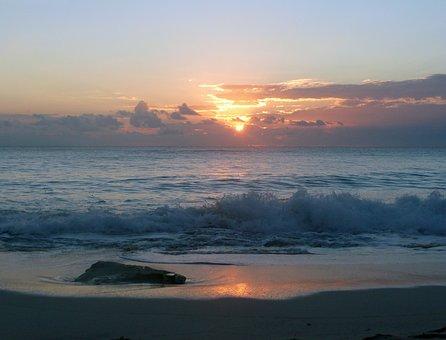 Ocean, Waves, Sunset, Beach, Sea, Water, Tides, Sandy