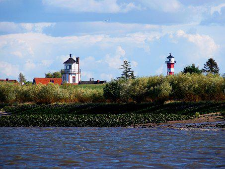 Elbe, Seafaring, Daymark, Lighthouse, Beacon, Ton