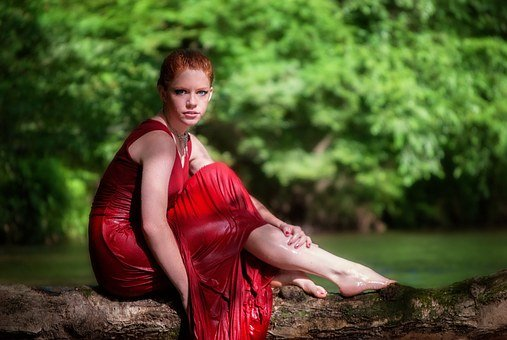 Girl, Sitting, Tree, Water, River, Young, Female, Woman