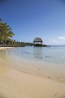 Beach, Hut, Palm, Palmtree, Coast, Shore, Blue, Summer