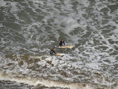 Surfers, Wetsuit, Ocean, Sea, Surf, Recreation, Surfing