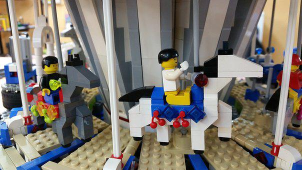 Lego, Horse, Carousel, Toys, Play