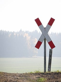 Fog, Andreaskreuz, Train, Note, Street Sign, Caution