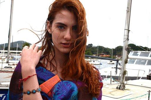 Woman, Model, Redhead, Beautiful, Beauty, Beach, Wind