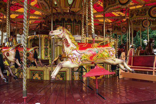 Carousel, Carousel Horses, Wooden Horse, Colorful