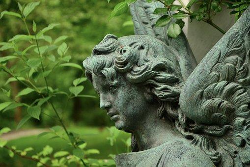 Angel, Sculpture, Cemetery, Statue, Engelskopf