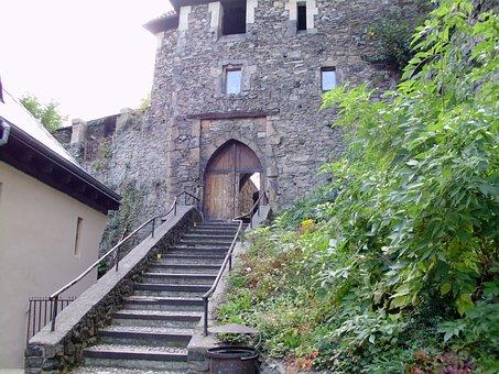 Strekov Castle Gate, Castle, Door, Wall, Stone Wall
