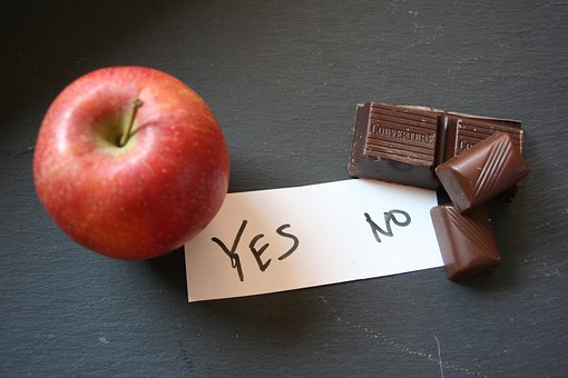 Apple, Healthy, Chocolate, Unhealthy, Remove, Slim