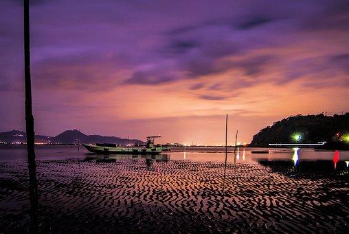 Port, Night, Coast, Japan, Sea, Kumamoto, Cloud