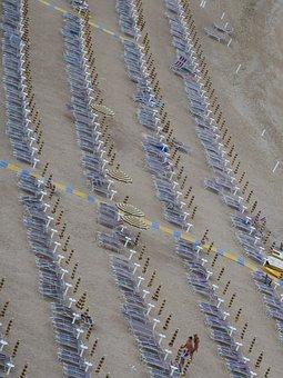 Beach, Umbrellas, Numana, Summer, Sea, Tourism