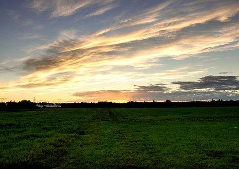 Sonnentuntergang, Field, Sun, Bavaria, Brunn Thal
