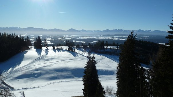Allgäu, Auerberg, View, Panorama, Winter, Snow, Wintry