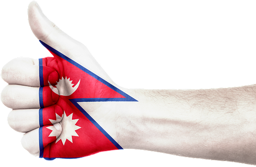 Nepal, Flag, Hand, Thumbs Up, Symbol, Sign, Nepalese
