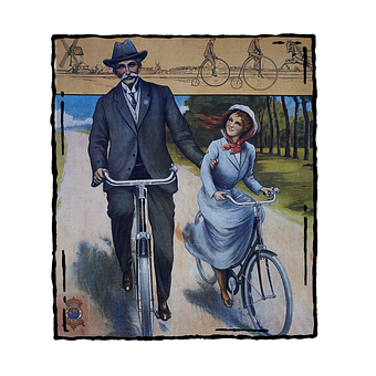 Bicycle, Vintage, Hat, Old, Antique, Man, Girl