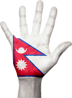 Nepal, Flag, Hand, Symbol, Sign, Nepalese, Asia