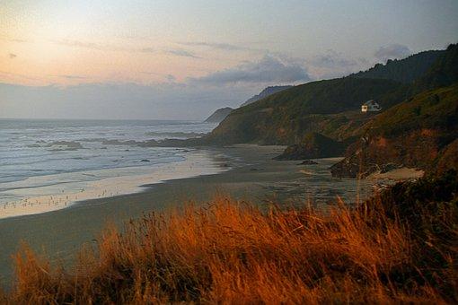 Oregon, Coast, Pacific, Seashore, Beach, Dusk