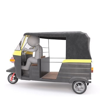 Tuk-tuk, White Male, 3d Model, Isolated, 3d, Model