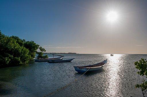 Venezuela, Sunset, Sun, Sea, Ocean, Water, Boats, Trees