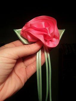 Ribbon, Rose, Sewing, Sew