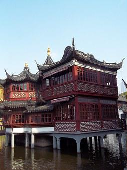 Shanghai, Old Town, Building, Water