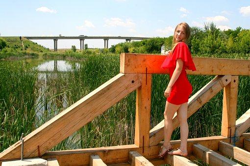 Girl, Portrait, Blond Hair, Beauty, Red Dress, Bridge