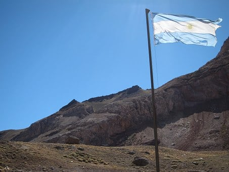 Argentina, Andes, Flag, Mountain
