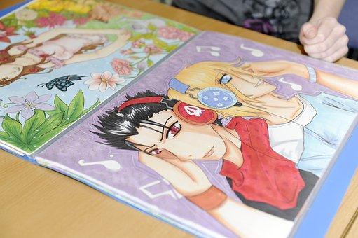 Manga, Library, Workshop, Book, Drawing, Anime, Cartoon