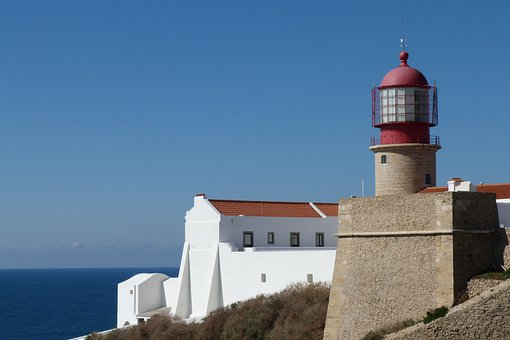 Lighthouse, Portugal, Cape Of Sao Vicente, Sea, Sky
