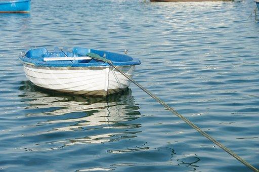San Vicente De La Barquera, Spain, Boat, White, Blue